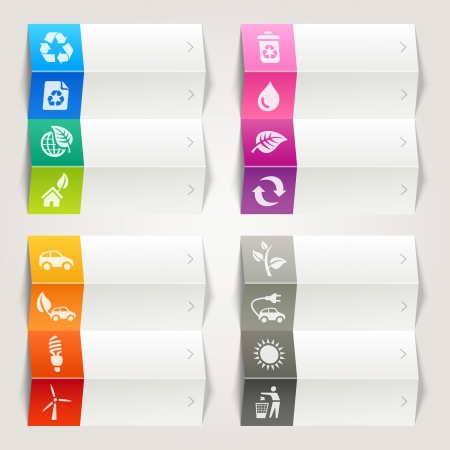 Rainbow - Ecological and Recycling icons   Navigation template Vector