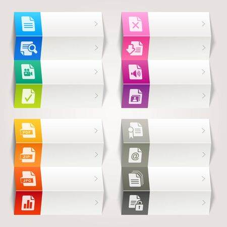 Rainbow - File format icons   Navigation template Vector