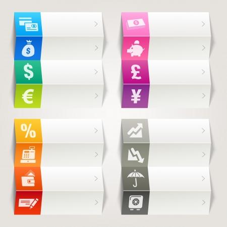 레인보우 - 금융 및 뱅킹 아이콘 탐색 템플릿 일러스트
