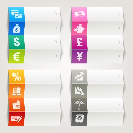 Rainbow - Finance and Banking icons   Navigation template Vector