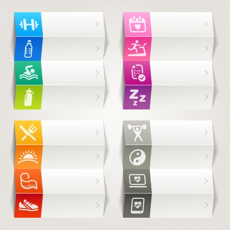 Rainbow - Health and Fitness icons   Navigation template Stock Vector - 17689468
