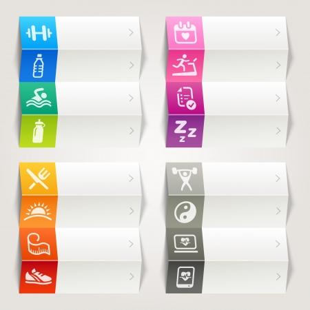 educacion fisica: Rainbow - Health and Fitness plantilla iconos de navegaci�n