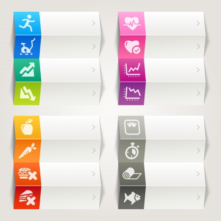 Rainbow - Health and Fitness icons   Navigation template Illustration