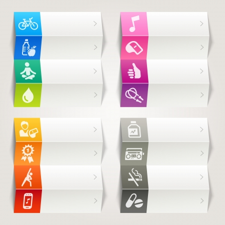 health drink: Rainbow - Health and Fitness icons   Navigation template Illustration
