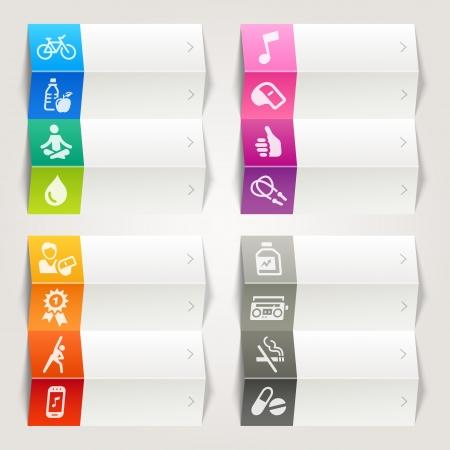 Rainbow - Health and Fitness plantilla iconos de navegación Ilustración de vector