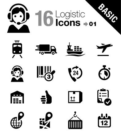 Basic - Logistyka i Spedycja ikony Ilustracje wektorowe