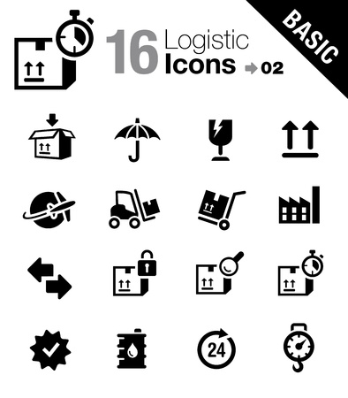 Basic - Logistic and Shipping icons Vector