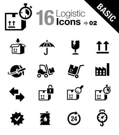 rendement: Basic - Logistieke en Scheepvaart iconen Stock Illustratie