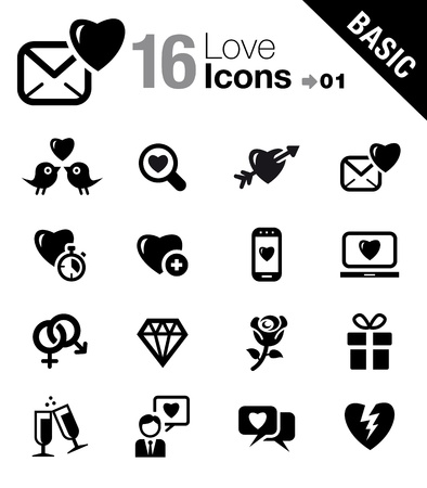 couple dating: Basic - Love and Dating icons Illustration