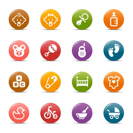 green clothes: Colored Dots - Baby icons Illustration