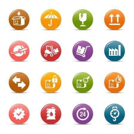 chronom�tre: Points color�s - ic�nes de logistique et transport Illustration