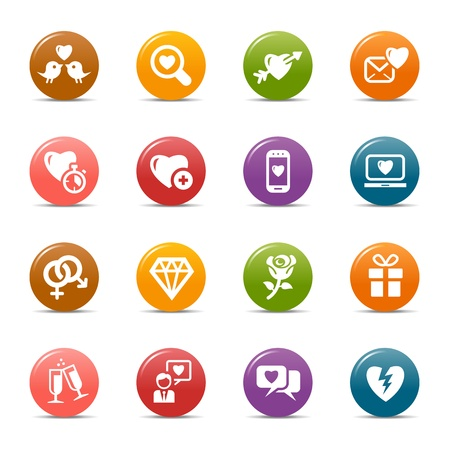 Colored Dots - Love and Dating icons Vector