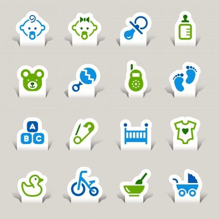 pacifier: Papel cortado - iconos del bebé