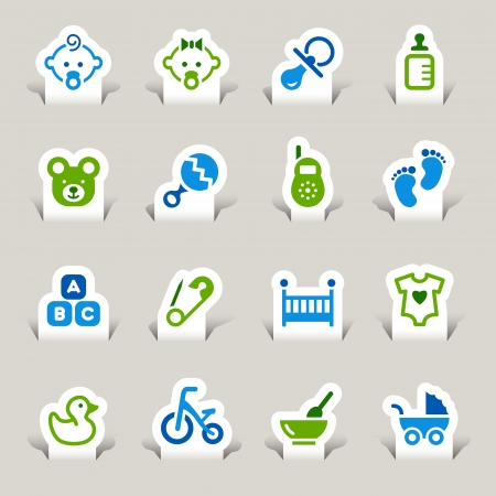 Paper Cut - Baby icons Vector