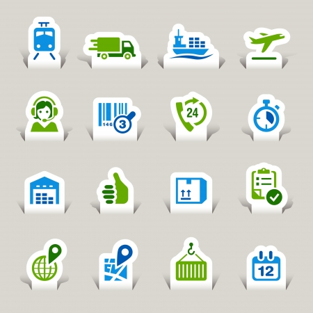 buen servicio: Papel cortado - iconos log�stica y el transporte Vectores