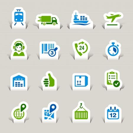 Paper Cut - Logistieke en Scheepvaart iconen Vector Illustratie