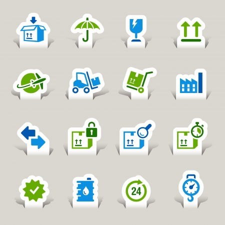 Paper Cut - Logistic and Shipping icons Vector