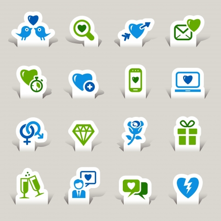 Paper Cut - Love and Dating icons Vector