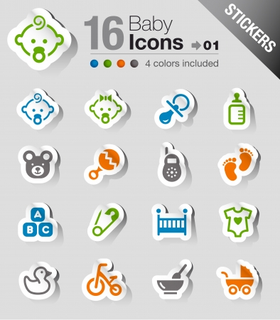 baby stickers: Stickers - Baby icons Illustration