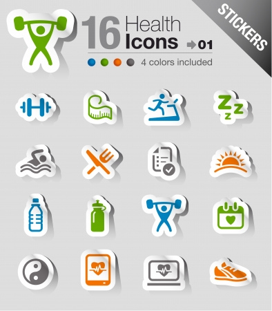 Stickers - Health and Fitness icons Ilustracja