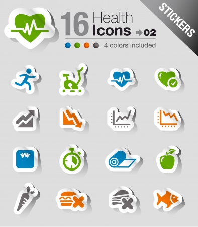 Stickers - Health and Fitness icons Ilustrace