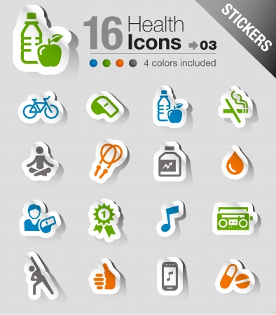 educacion fisica: Pegatinas - iconos de Salud y Bienestar Vectores