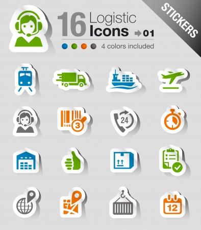 embarque: Pegatinas - iconos de log�stica y env�o Vectores