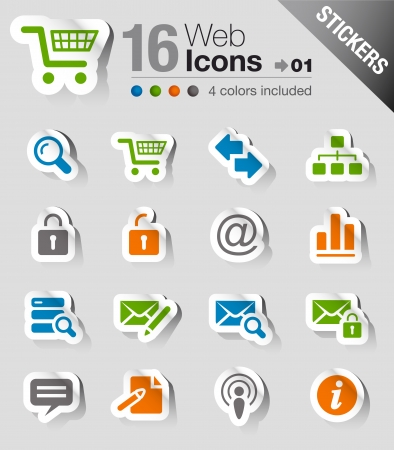 Stickers - Website and Internet Icons Stock Vector - 17989532