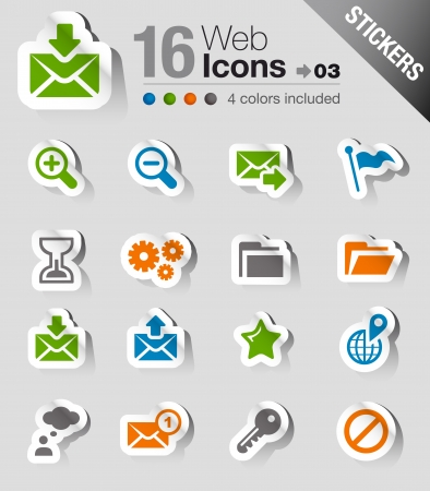 Stickers - Website and Internet Icons Stock Vector - 17991122