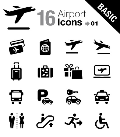 Basic - Airport and Travel icons Vector