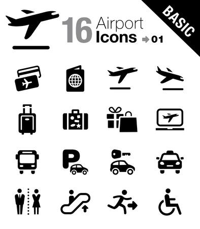 viajero: Iconos del aeropuerto y viajes - B�sico Vectores