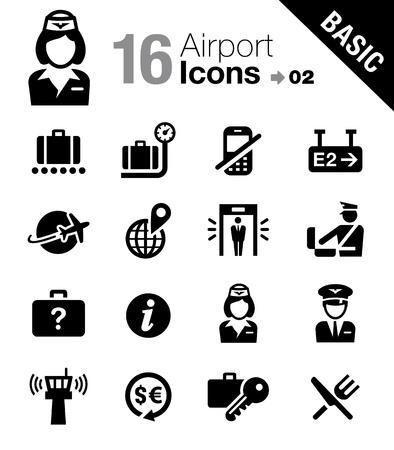 azafata de vuelo: Iconos del aeropuerto y viajes - B�sico Vectores