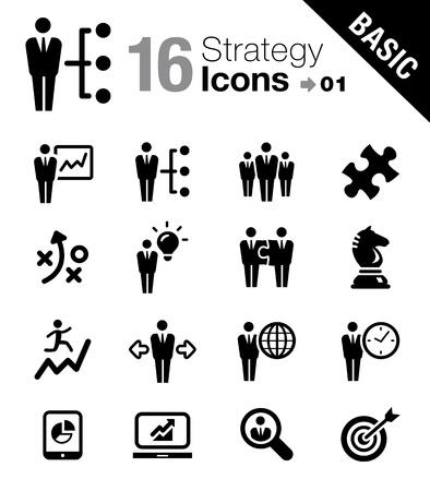 Basic - strategii biznesowej i zarzÄ…dzanie ikony Ilustracje wektorowe