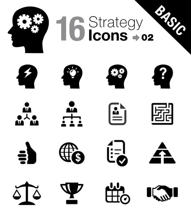 successful strategy: Basic - Business strategy and management icons Illustration