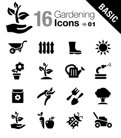 gardening equipment: Basic - Gardening icons Illustration