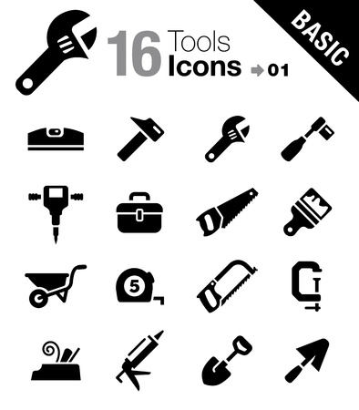 glue: Grundlagen - Werkzeuge und Construction icons Illustration