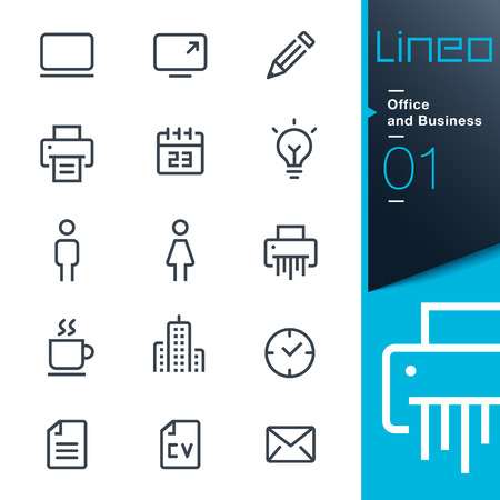 icone: Lineo - Uffici e contorno di icone Vettoriali