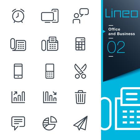 Lineo - Oficina y Negocios iconos de contorno Ilustración de vector