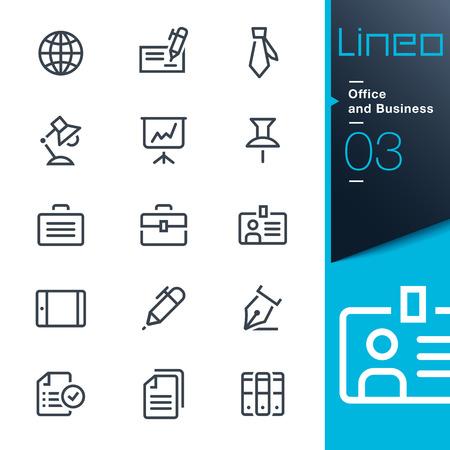 Lineo - Oficina y Negocios iconos de contorno Foto de archivo - 26039197