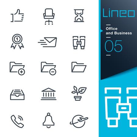 Lineo - Uffici e contorno di icone Archivio Fotografico - 26038936