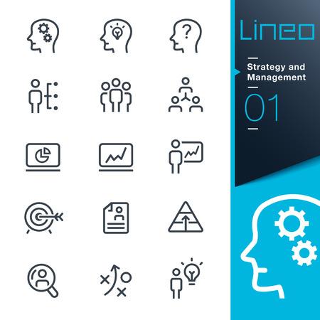 Lineo - Strategia e Gestione contorno icone Archivio Fotografico - 26039099