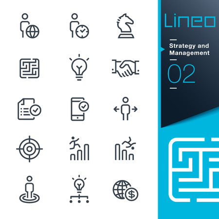 business decisions: Lineo - Strategy and Management outline icons