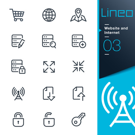 Lineo - Website and Internet outline icons 版權商用圖片 - 26038963