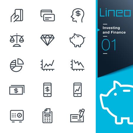 Iconos Inversiones y Finanzas de contorno - Lineo Foto de archivo - 26036776