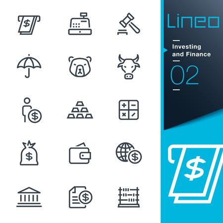 Lineo - Investing and Finance outline icons Illusztráció