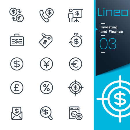 currency converter: Lineo - Investing and Finance outline icons Illustration
