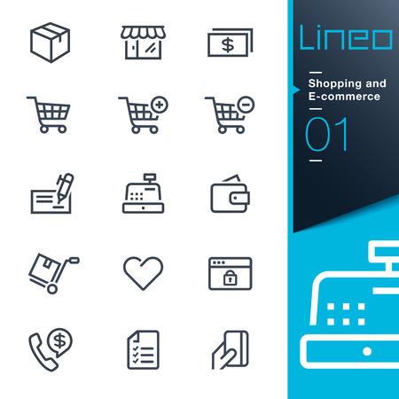 Lineo: iconos de contorno de compras y comercio electrónico Ilustración de vector