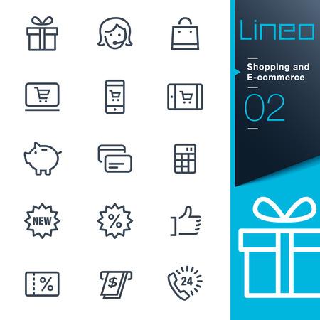 Lineo - Achat et E-commerce contour icônes Banque d'images - 26036797