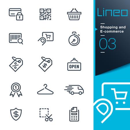 caja fuerte: Lineo - Compras y esquema de comercio electrónico iconos