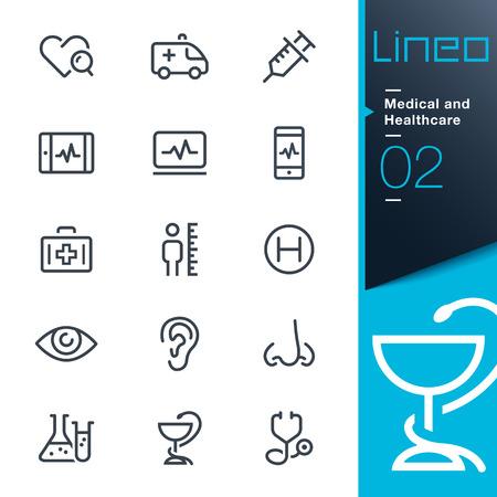Lineo - Médicos y de salud iconos de contorno Vectores